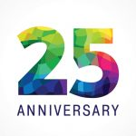 The bright faceted logotype of 25th birthday.